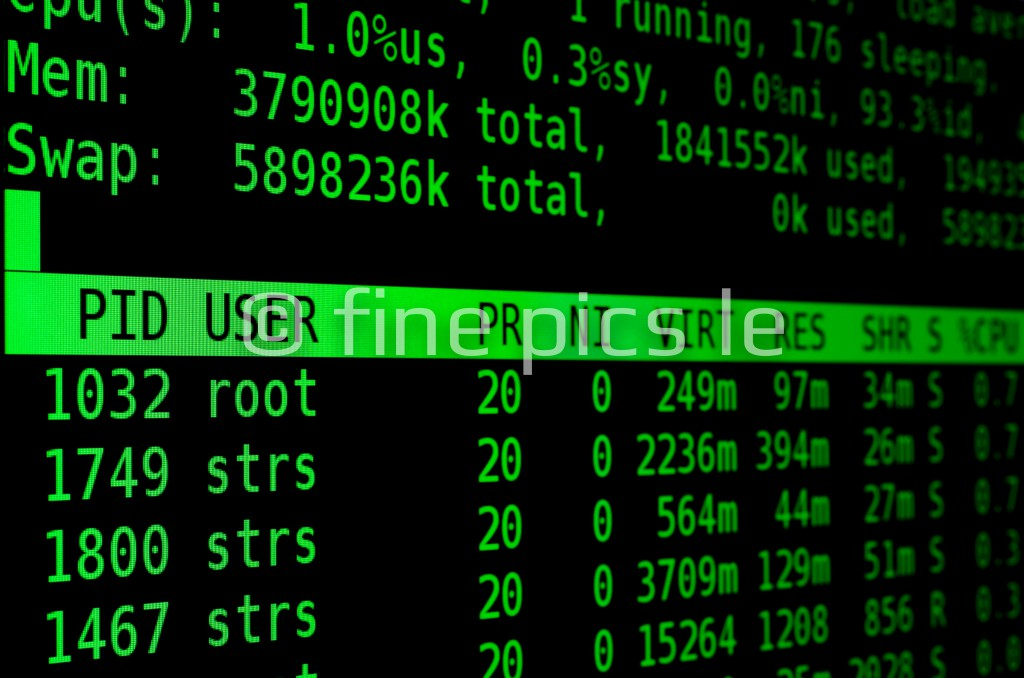 Linux-Kommandozeile: top (grün)